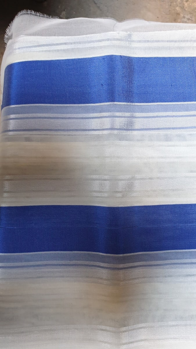 Fabric  Blue, White Morocco