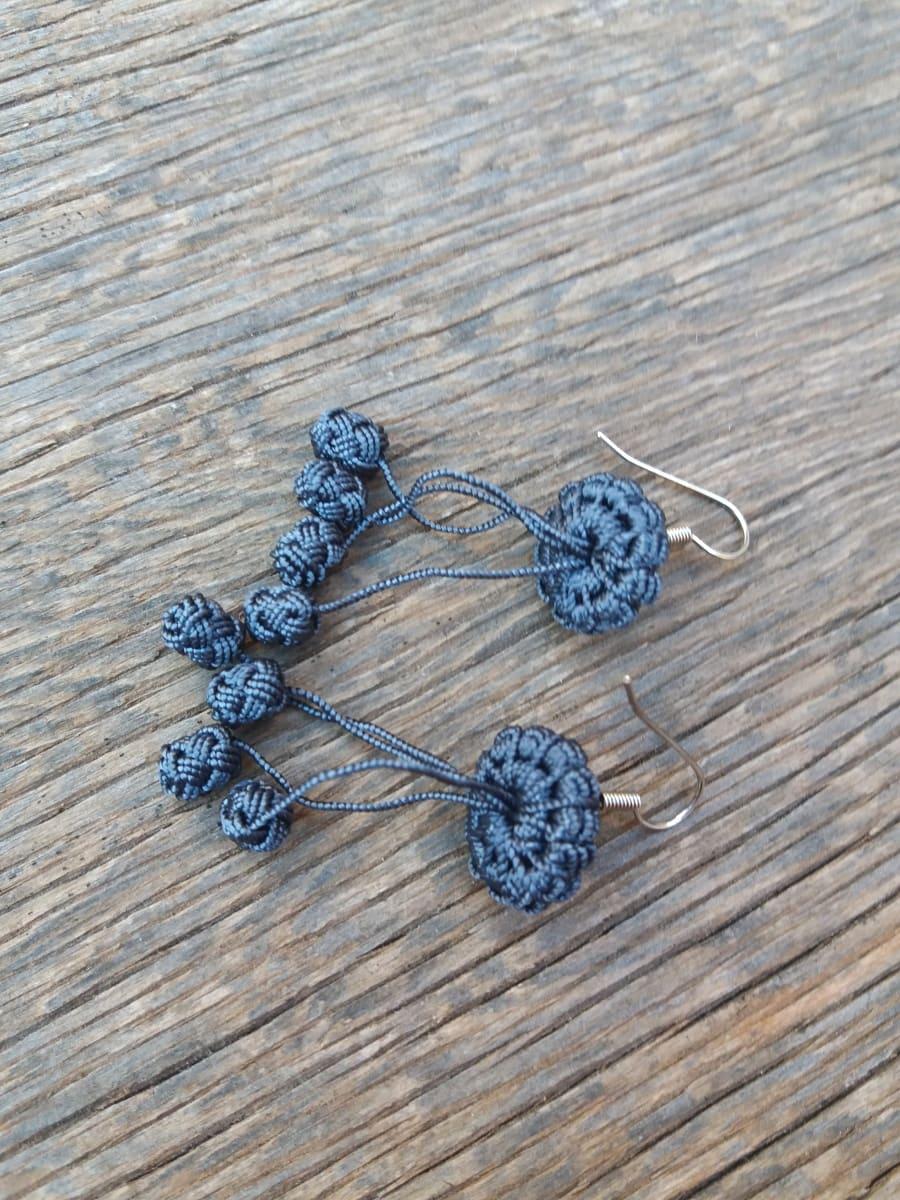 Multi Button Earrings  Grey Morocco