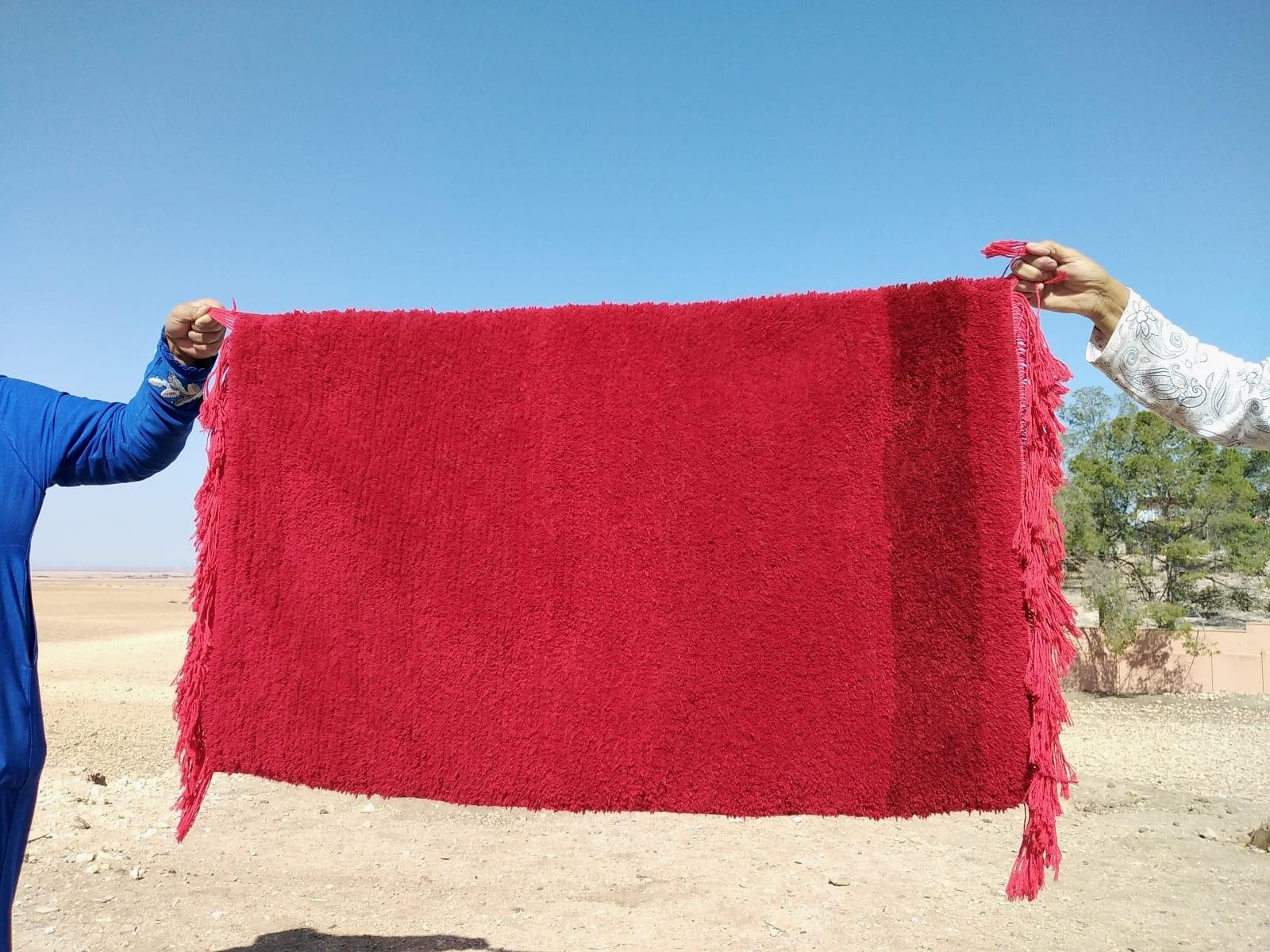 Handmade carpet  Sedda  and Wool Red Morocco