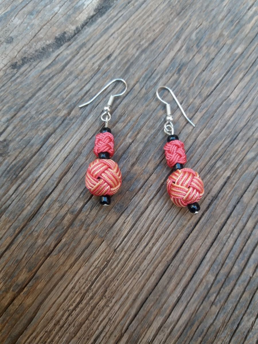 Ball and Button Earrings  Pink, Orange Morocco