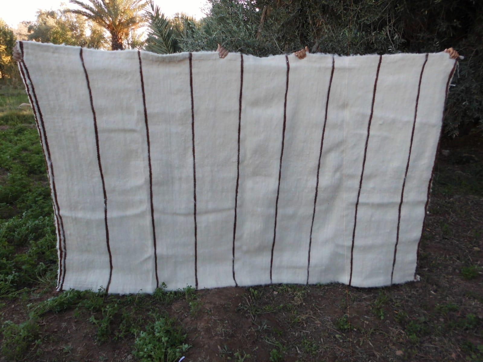 Flatweave Rug  Brown, White Morocco
