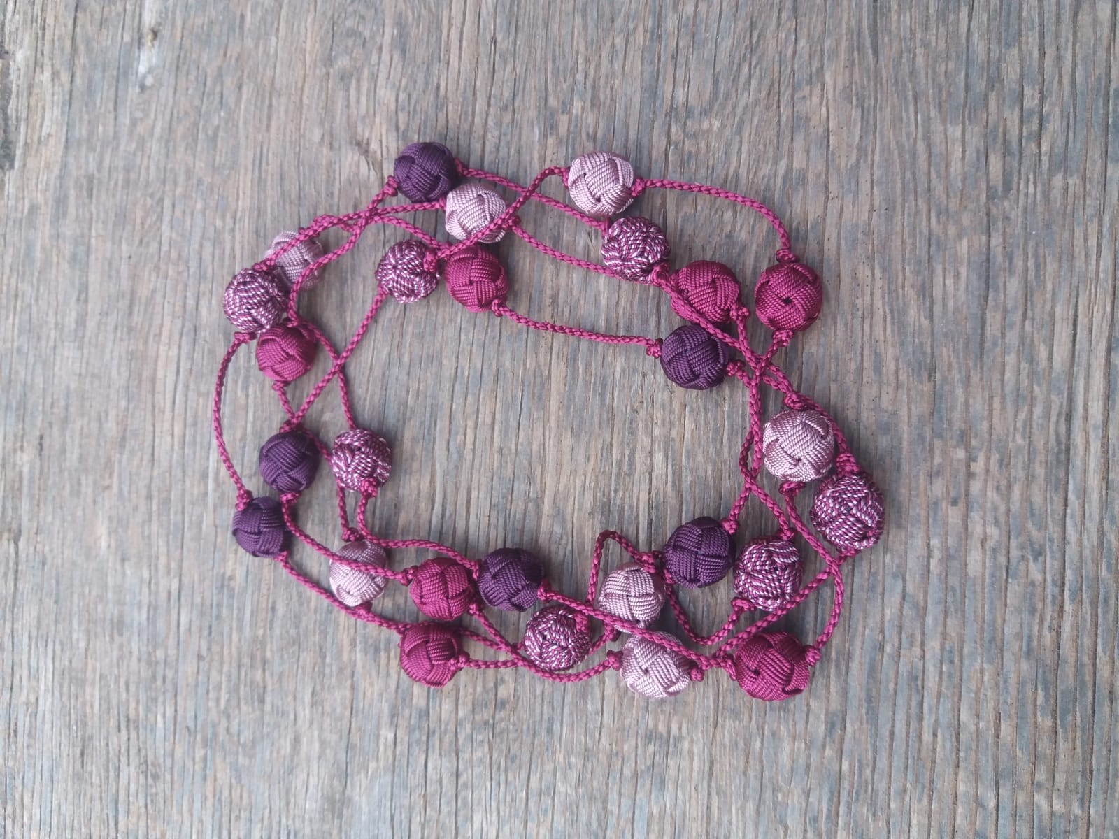 Long Strand Necklace  Purple, Pink Morocco