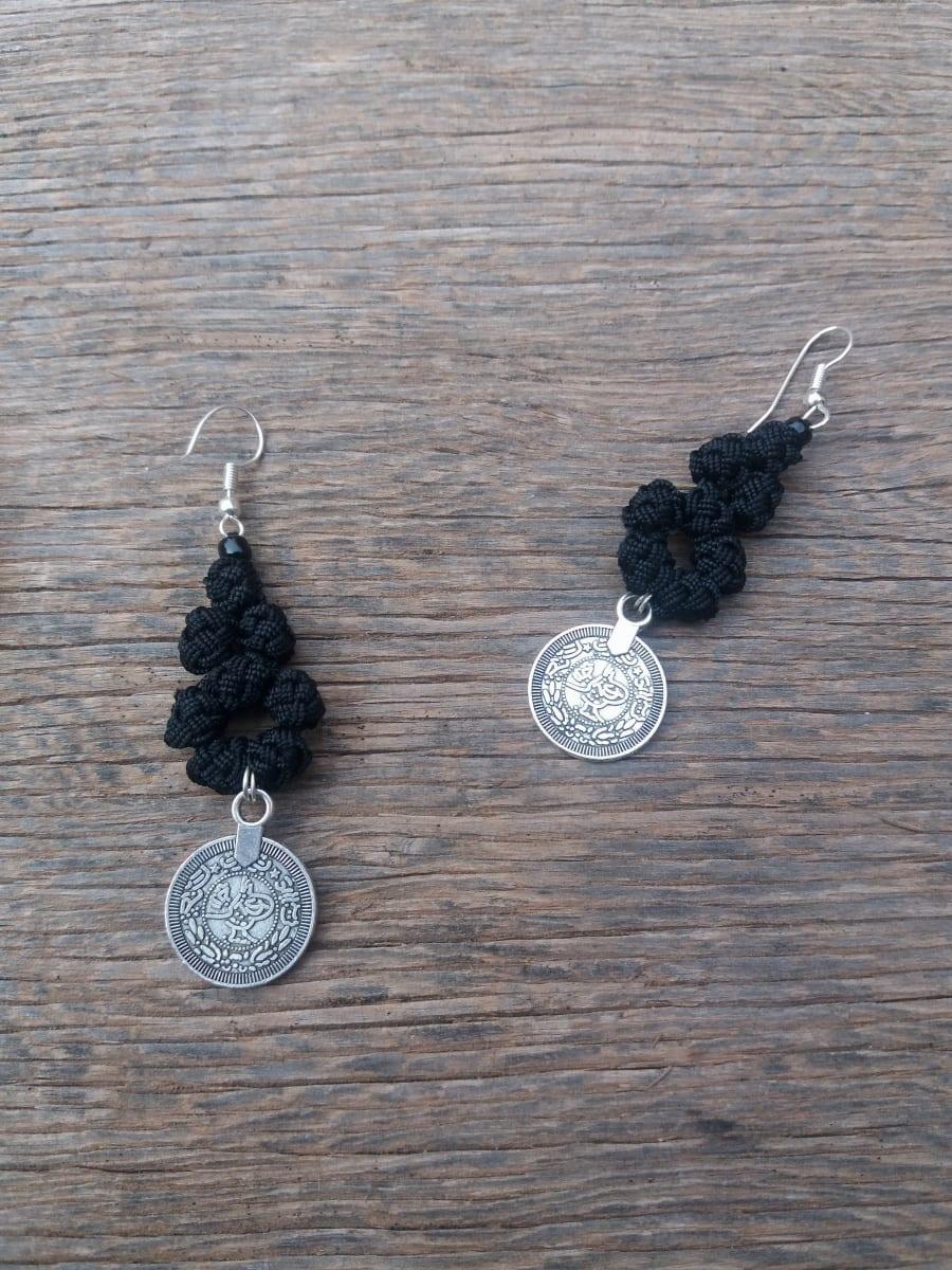 Button Dangle Earrings  Black Morocco