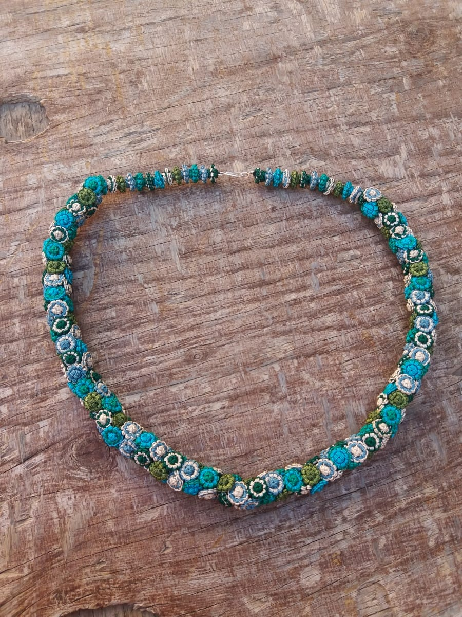Cluster Necklace  Light Blue, Green Morocco