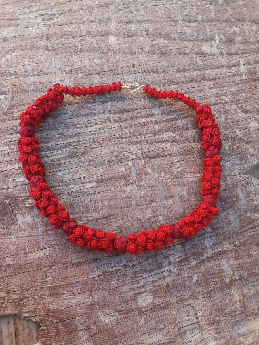 Cluster Necklace  Red Morocco