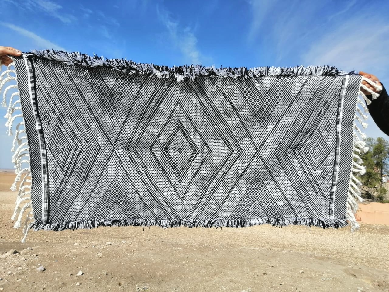 Handira Wool and Sedda  Black, White Morocco