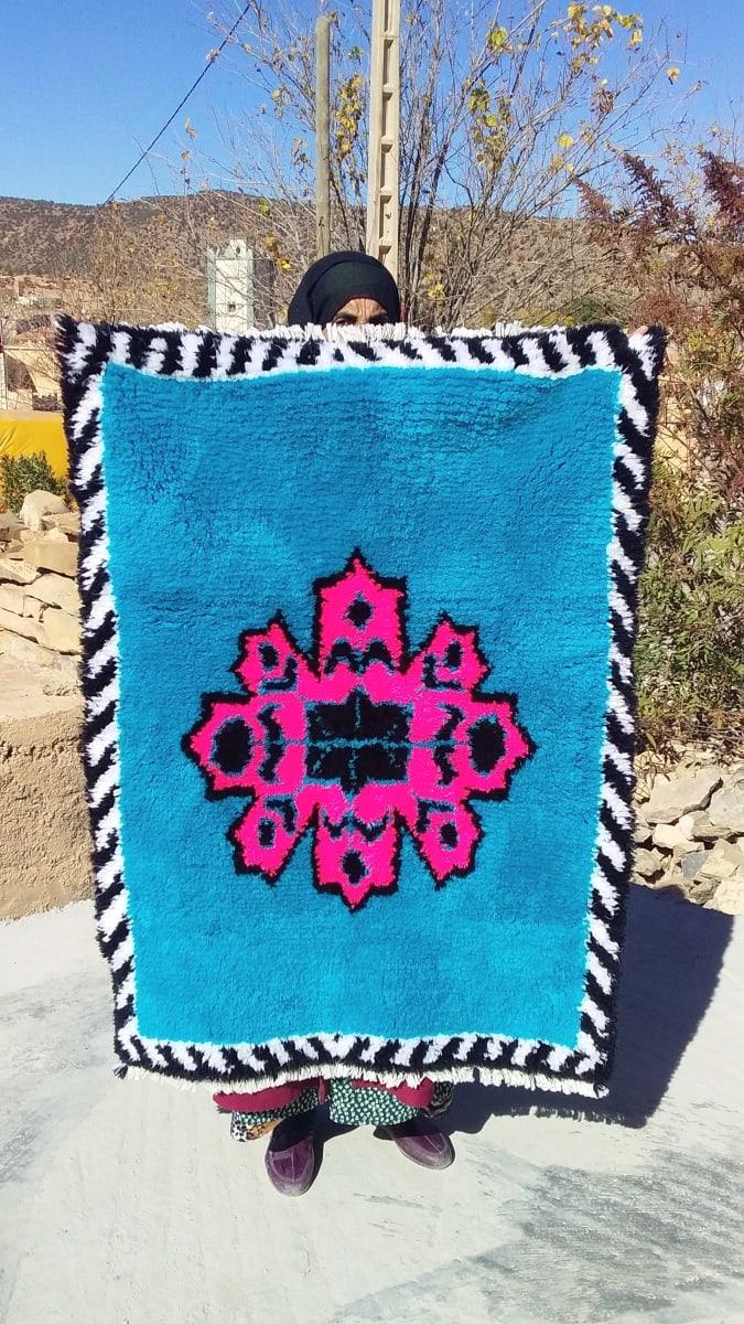 Hanbal rug  Blue, Black Morocco