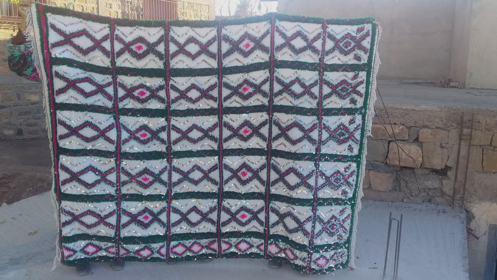 Flatweave  Pink, Green Morocco