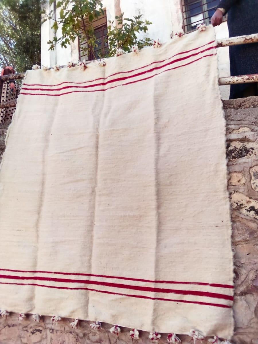 Flatweave Rug Wool Red, White Morocco