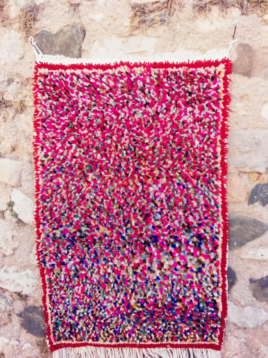 Pile Knot Rug Dyed Wool Colored Morocco