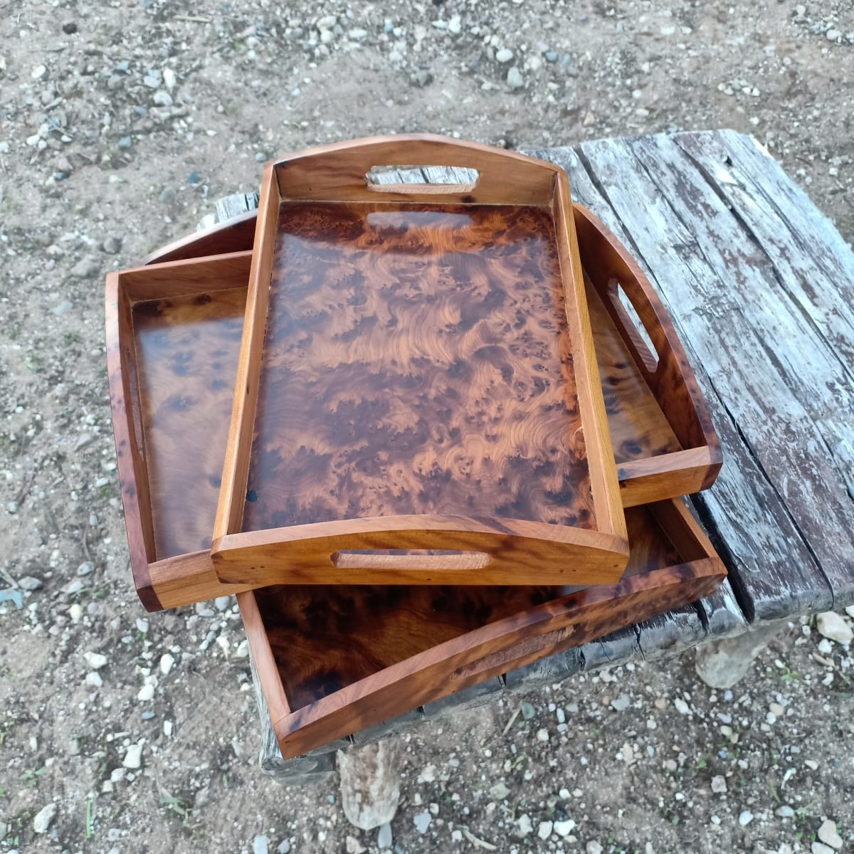 Serving Tray Juniper Root  White Morocco