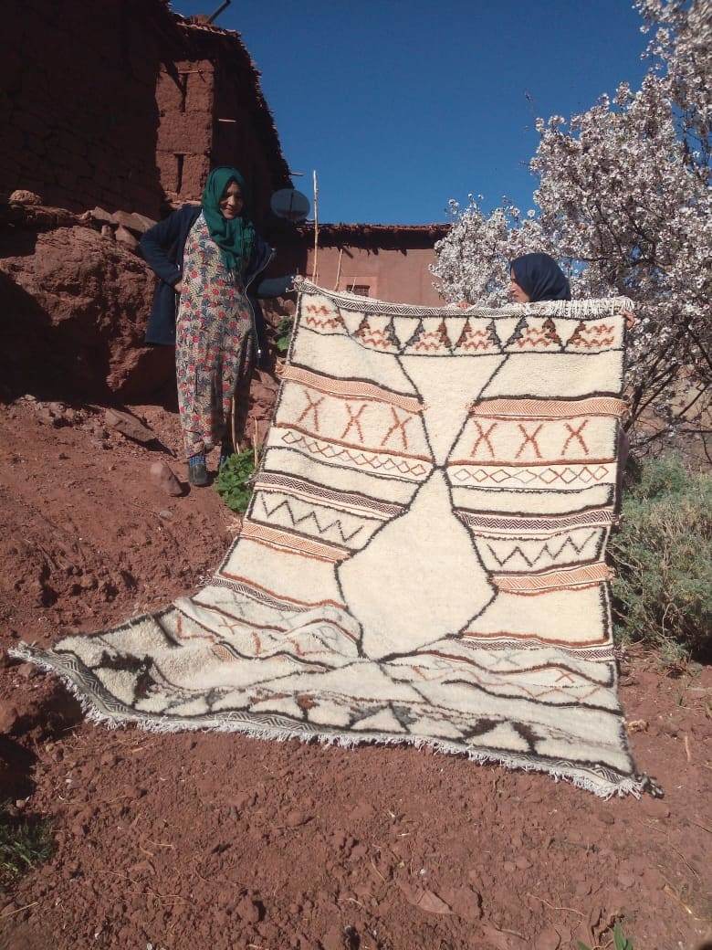 Beni Ourain Rug Wool Orange, Black Morocco