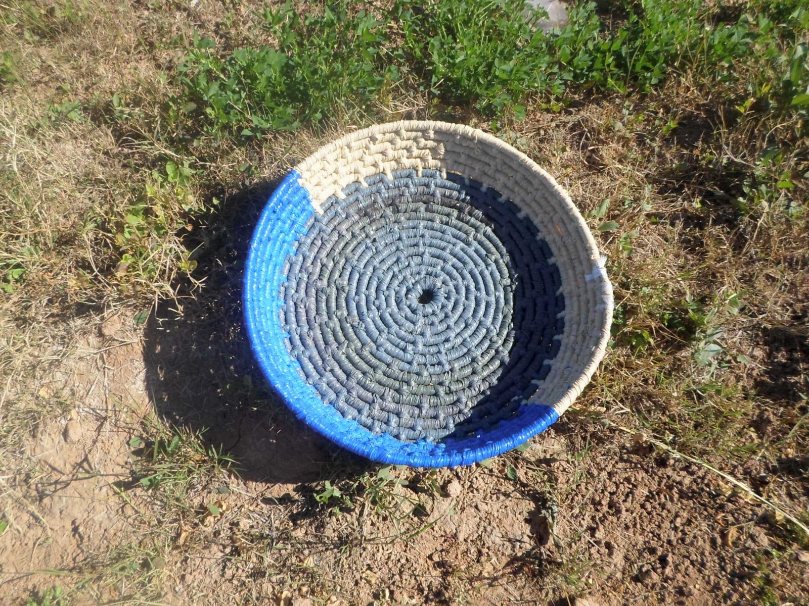 Basket  Blue, Grey Morocco