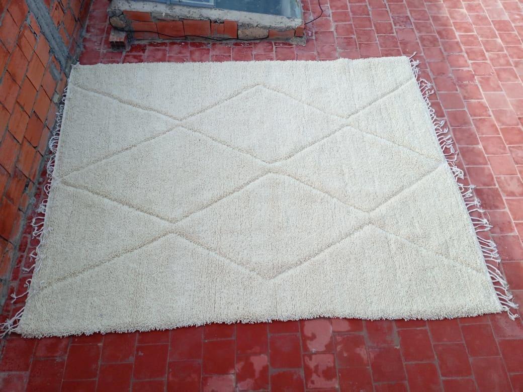 Beni Ourain Cotton Warp and Wool White Morocco