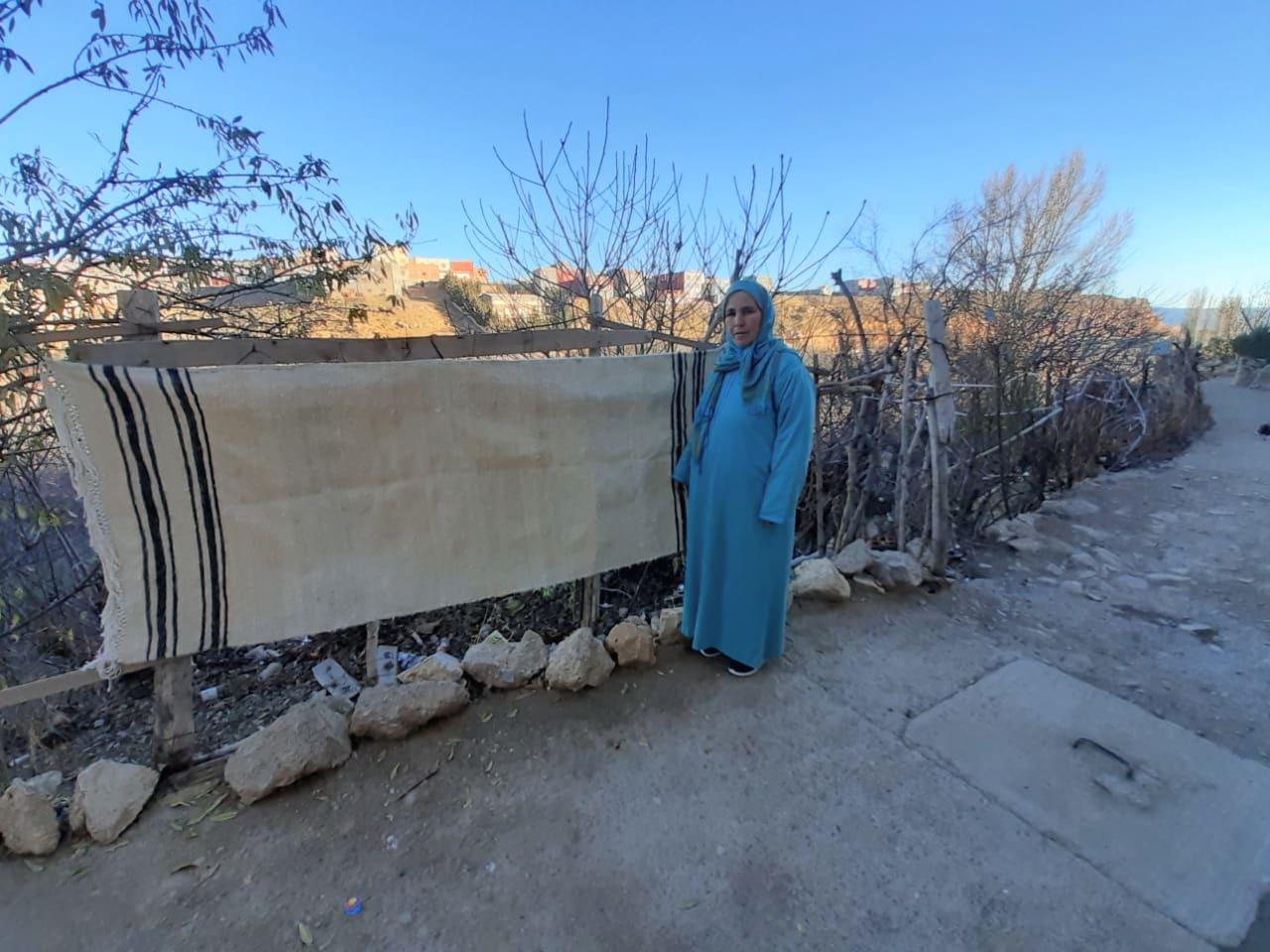 Flatweave  Brown, White Morocco