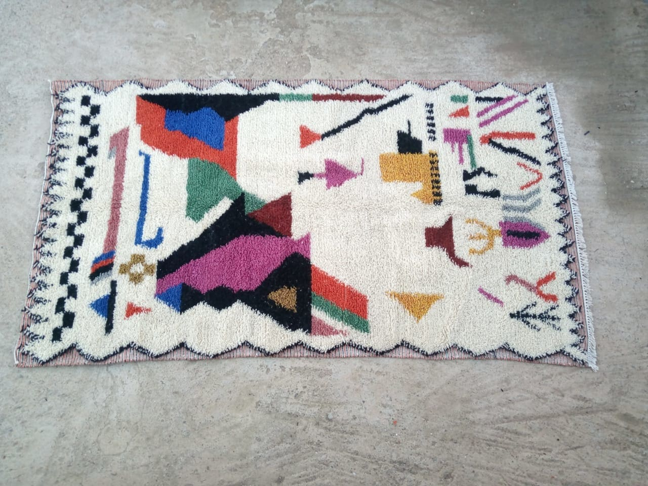 Beni Ourain Cotton Warp and Wool Colored Morocco
