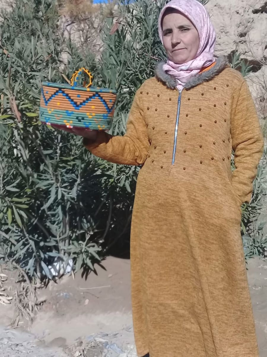 Basket Dyed Wool and Reed Colored Morocco