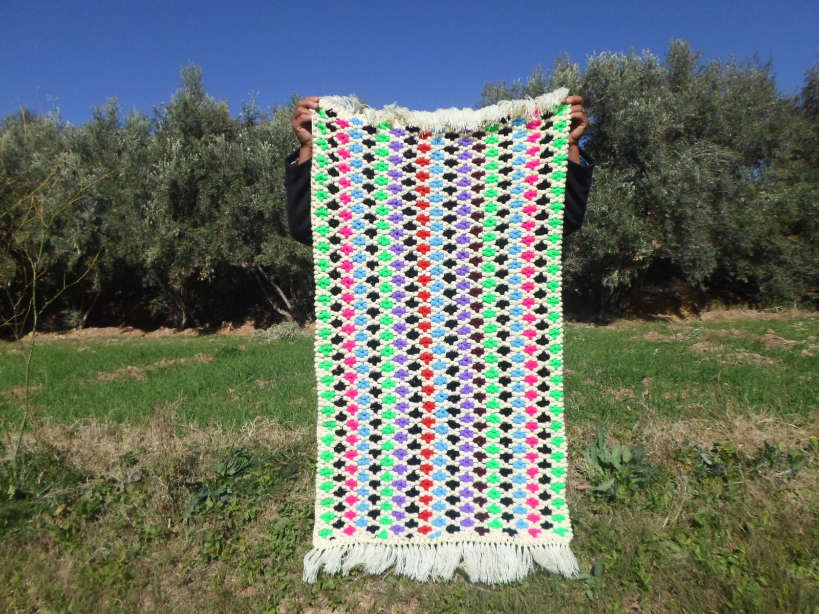 Pile Knot Rug Assorted Yarns Colored Morocco