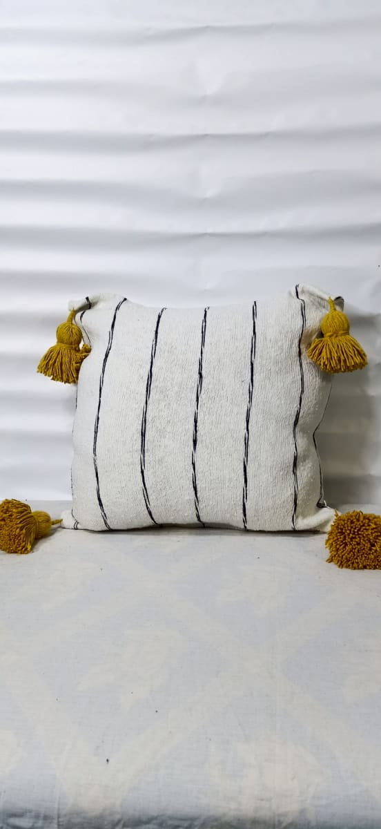 pillow  Yellow, Black Morocco