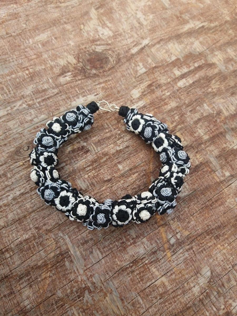 Cluster Bracelet  Grey, Black Morocco