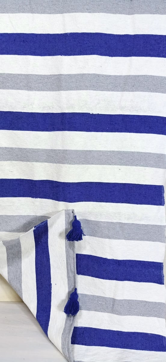 tawel Cotton and weft thread  Blue, Grey Morocco