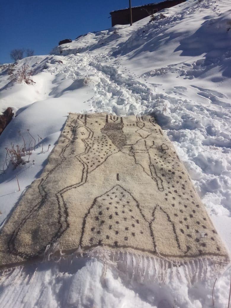 Azilal Rug Wool Black, White Morocco