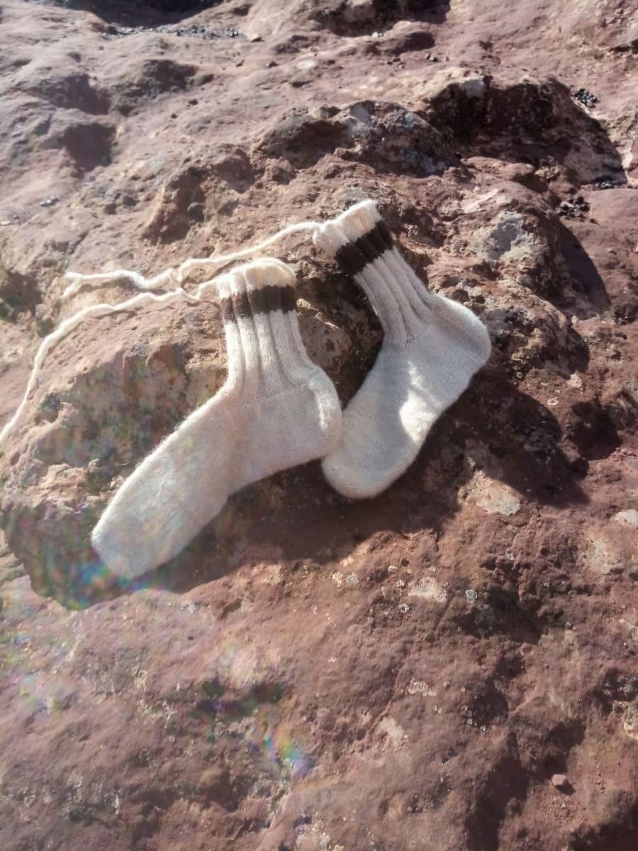 wool socks  Wool Brown, White Morocco