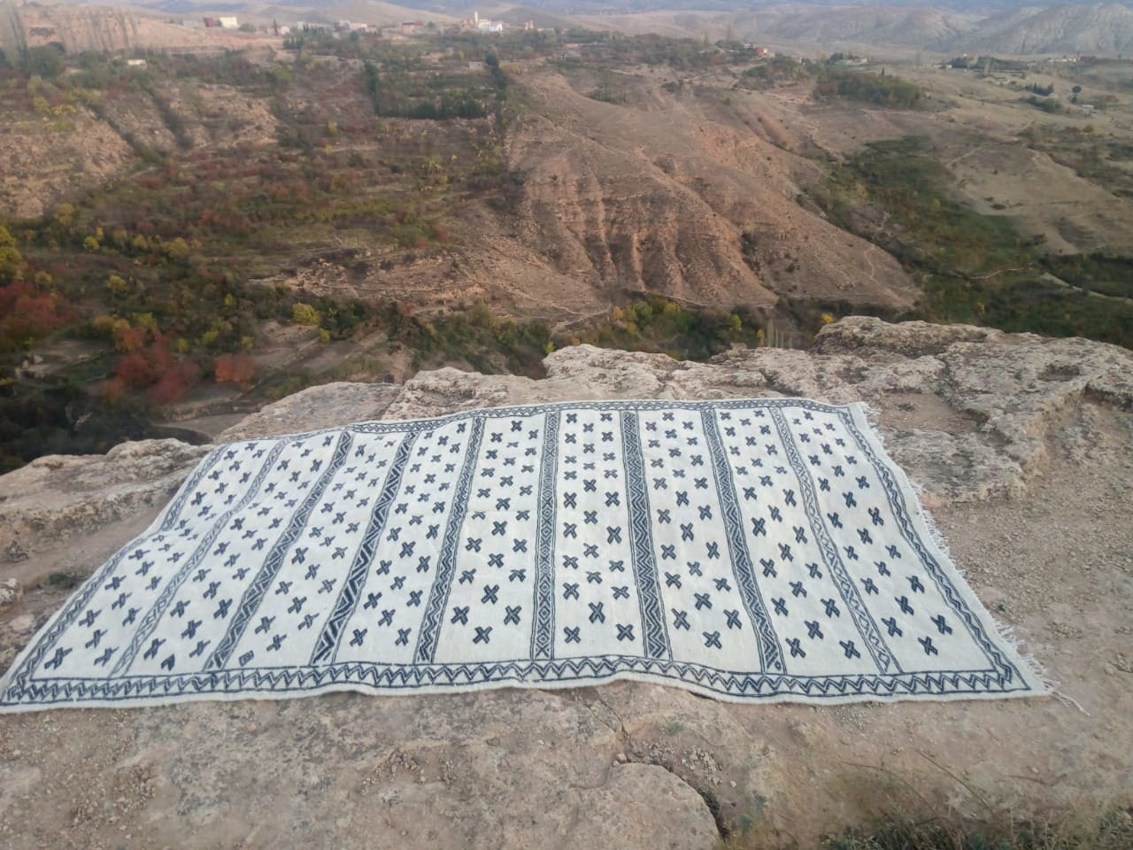 Flatweave the Warp and Wool Black, White Morocco