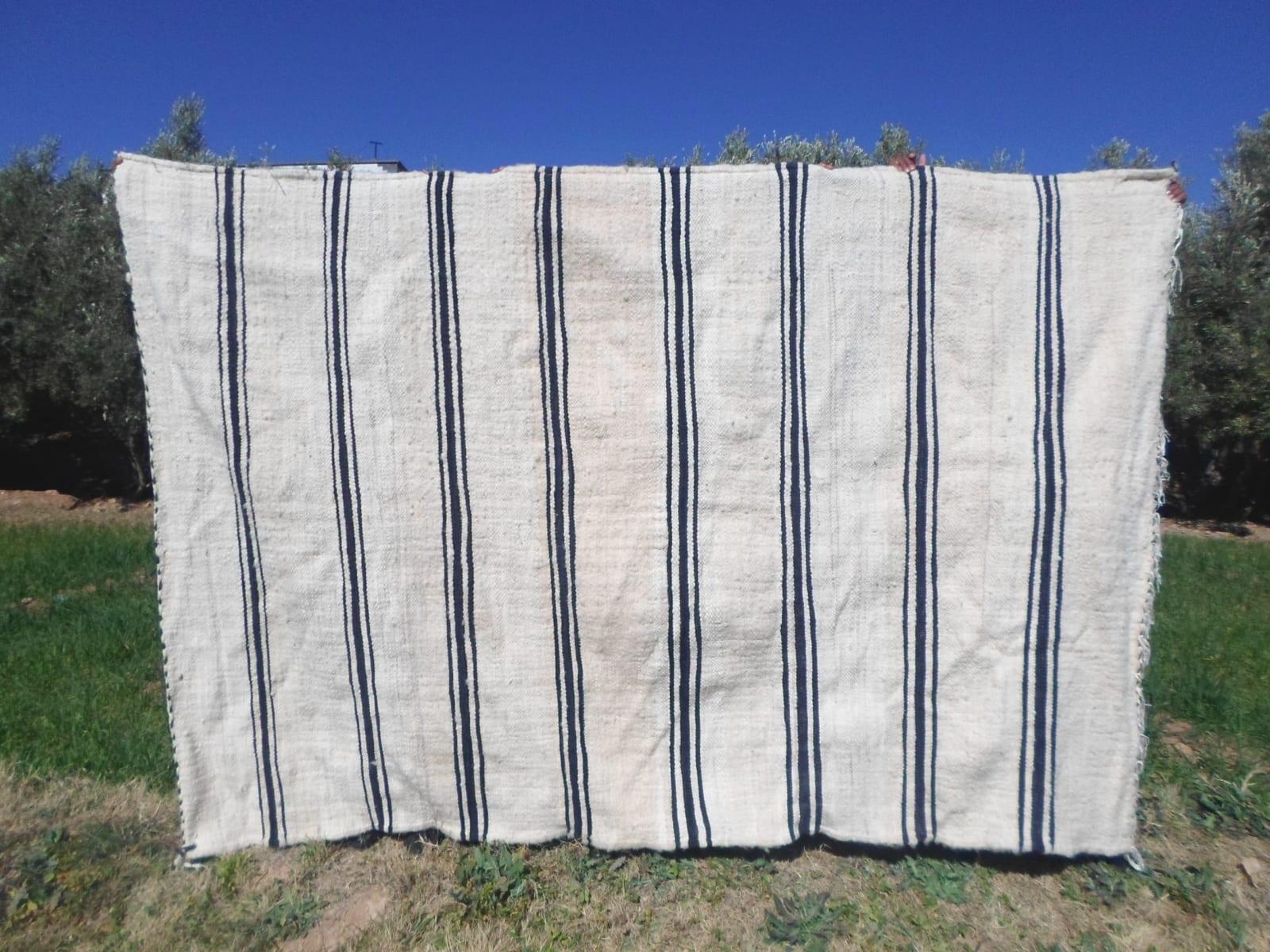 Flatweave Cotton Warp Black, White Morocco