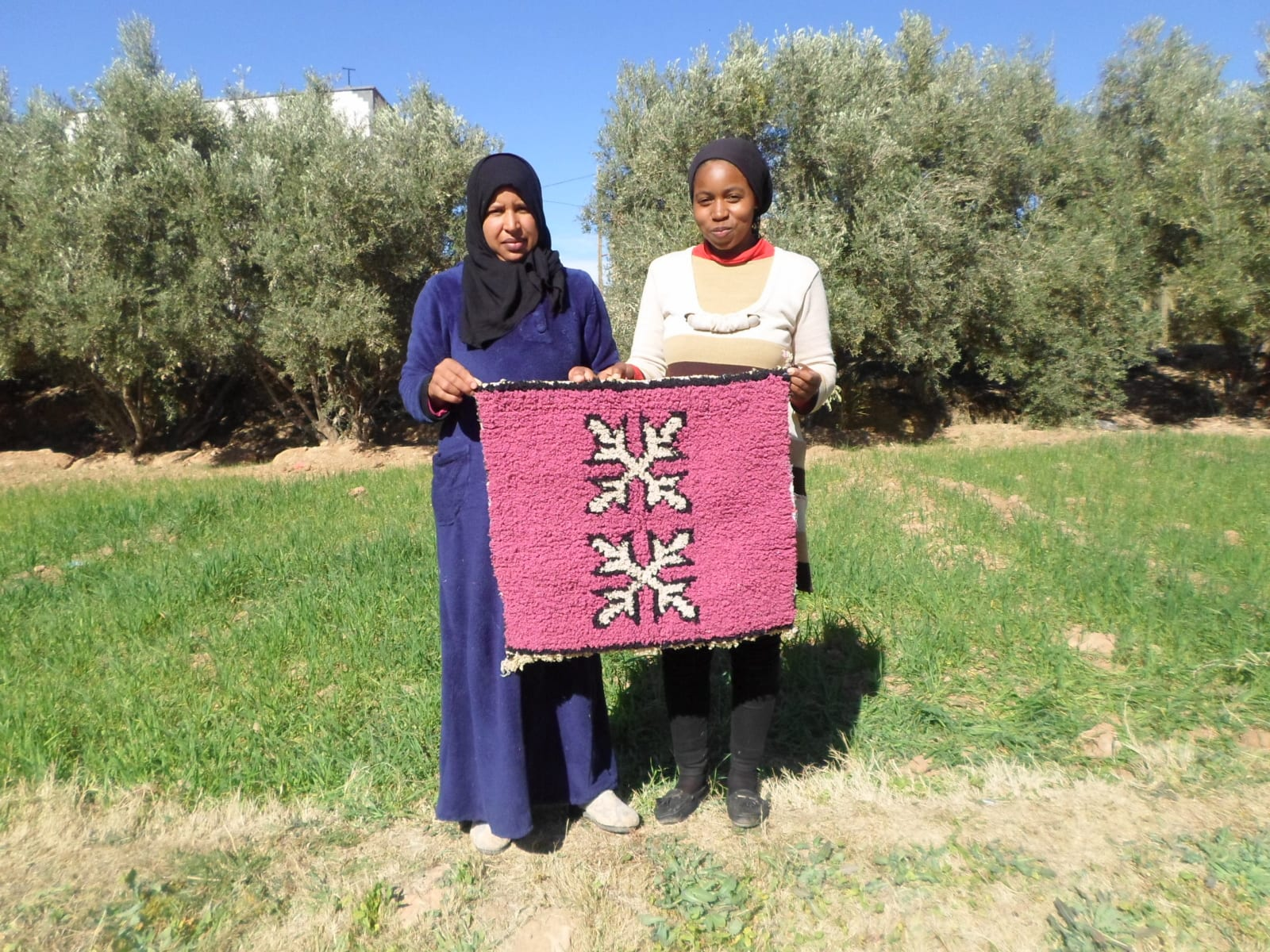 Pile Knot Rug  Pink, Black Morocco