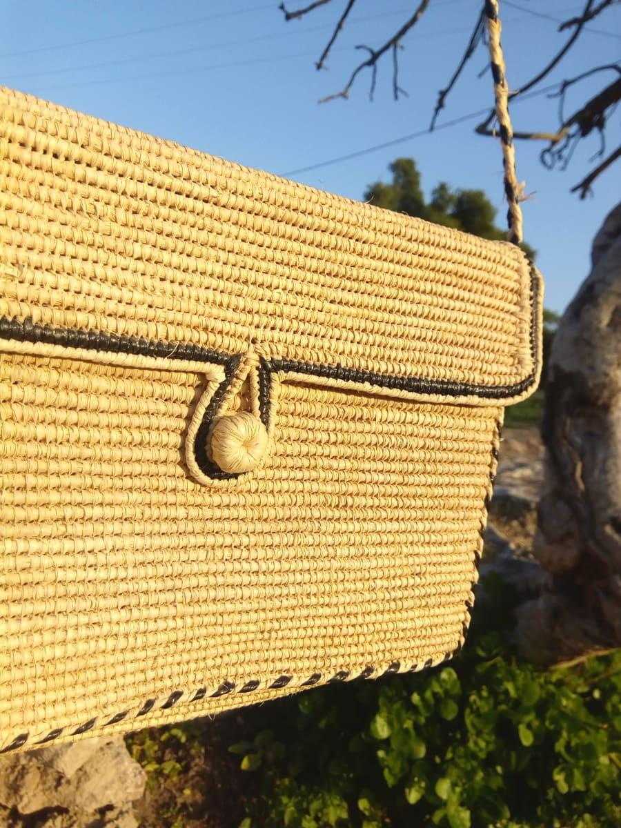 Keystone Basket  Green, White Morocco