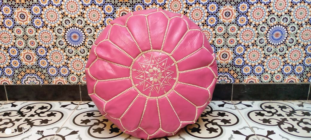 Pouf leather and Sabra silk Pink, White Morocco