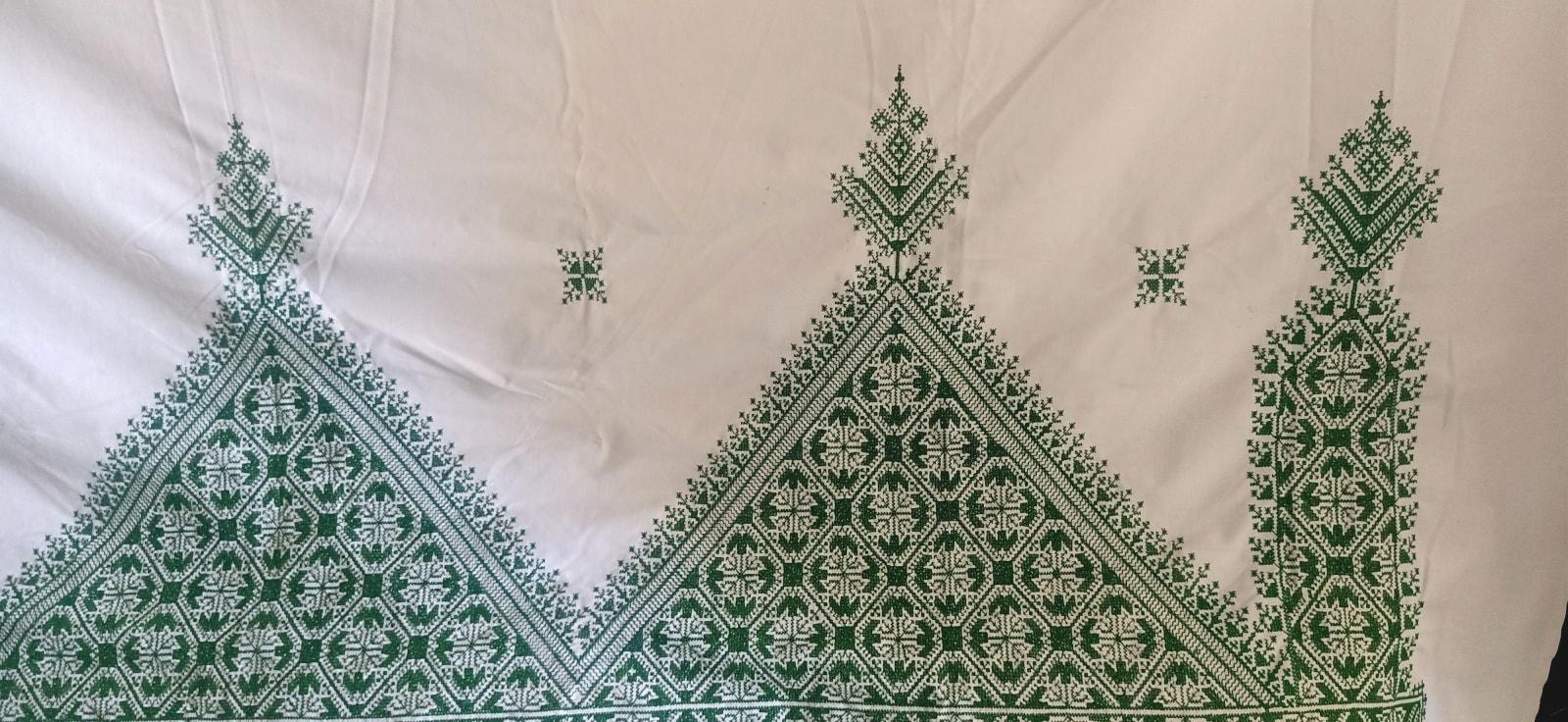 tawel Cotton Green, White Morocco