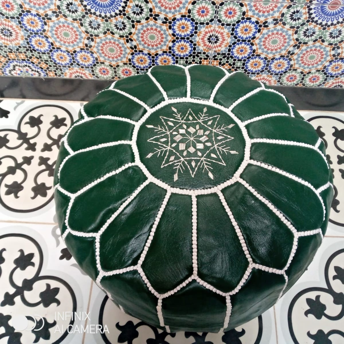 Pouf leather and Sabra silk Green, White Morocco