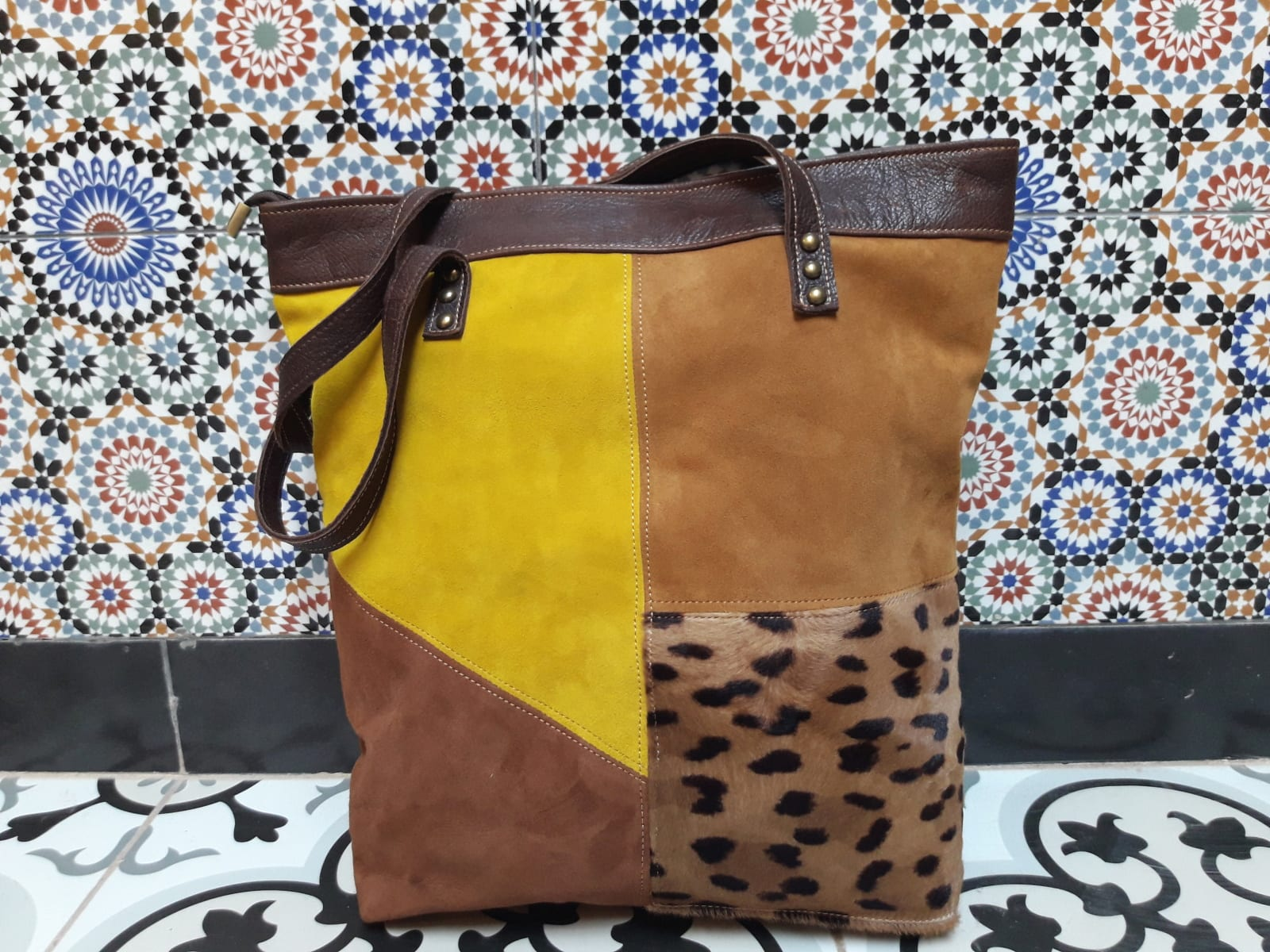 bag leather Yellow, Brown Morocco
