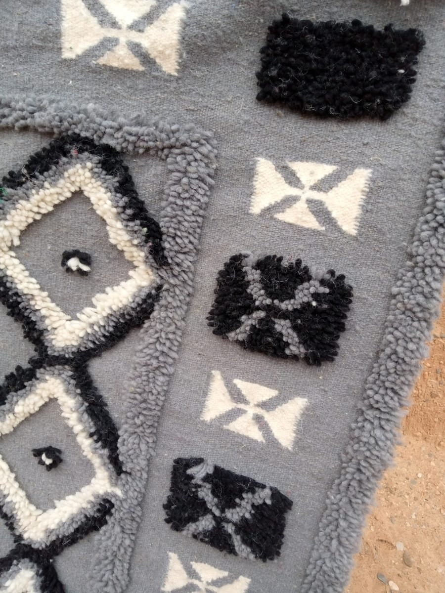 Rug   Grey, Black Morocco