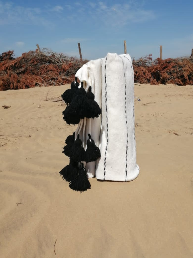 Genuine Wool Rug  Black, White Morocco