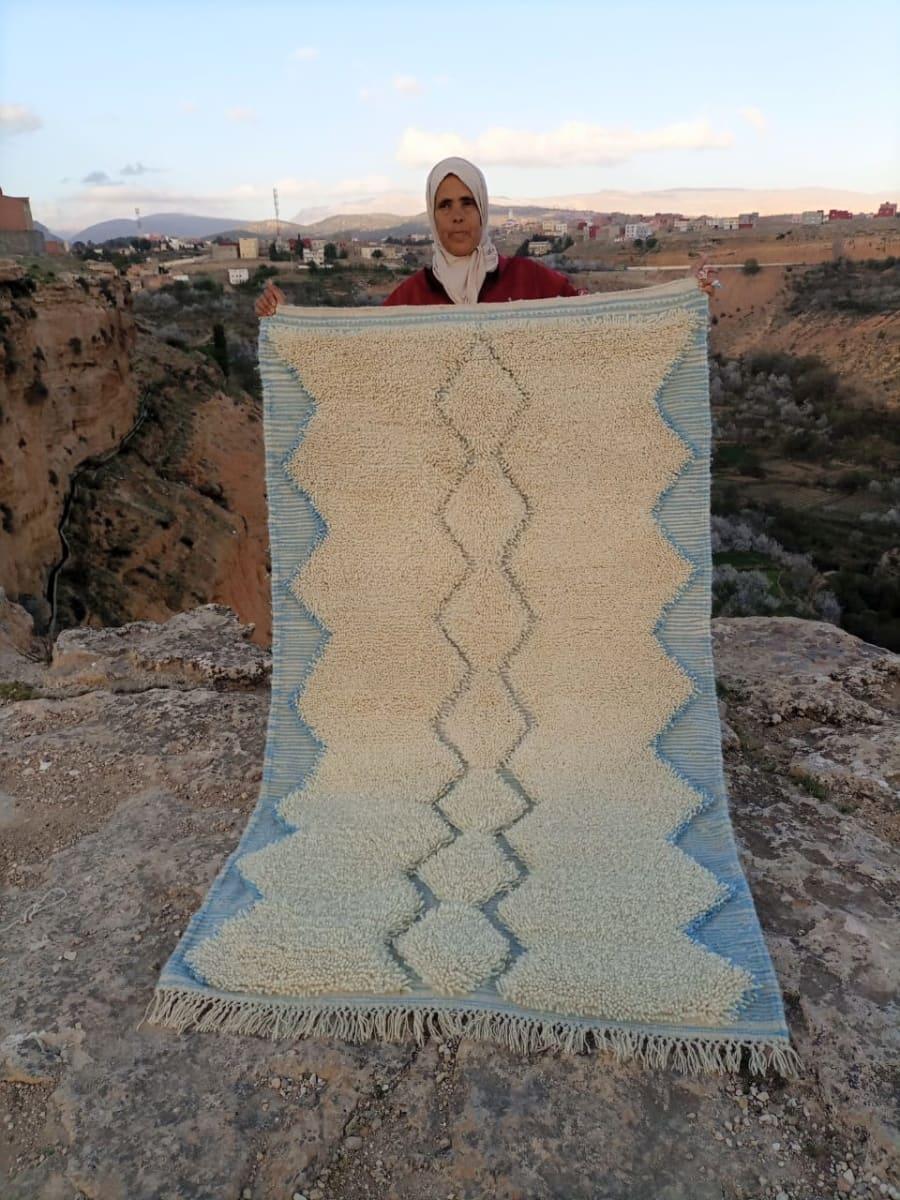 Beni Ourain  Light Blue, White Morocco