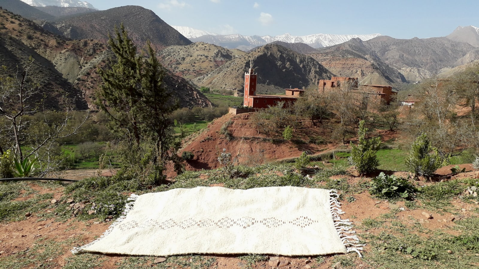 Pile Knot Rug Wool Orange, Black Morocco