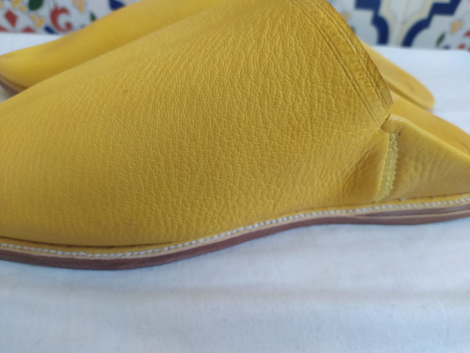 Leather Clutch   Yellow Morocco
