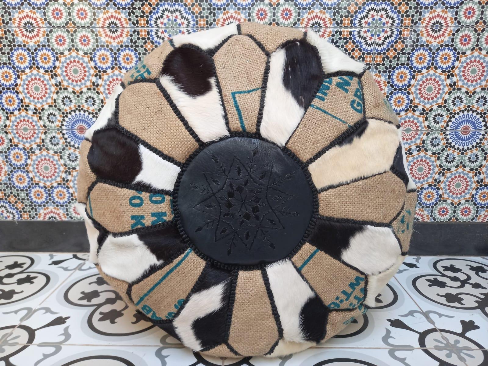Pouf leather and Sabra silk Brown, Black Morocco
