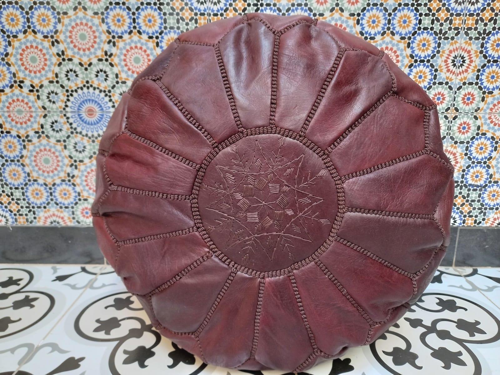 Pouf leather and Sabra silk Brown Morocco