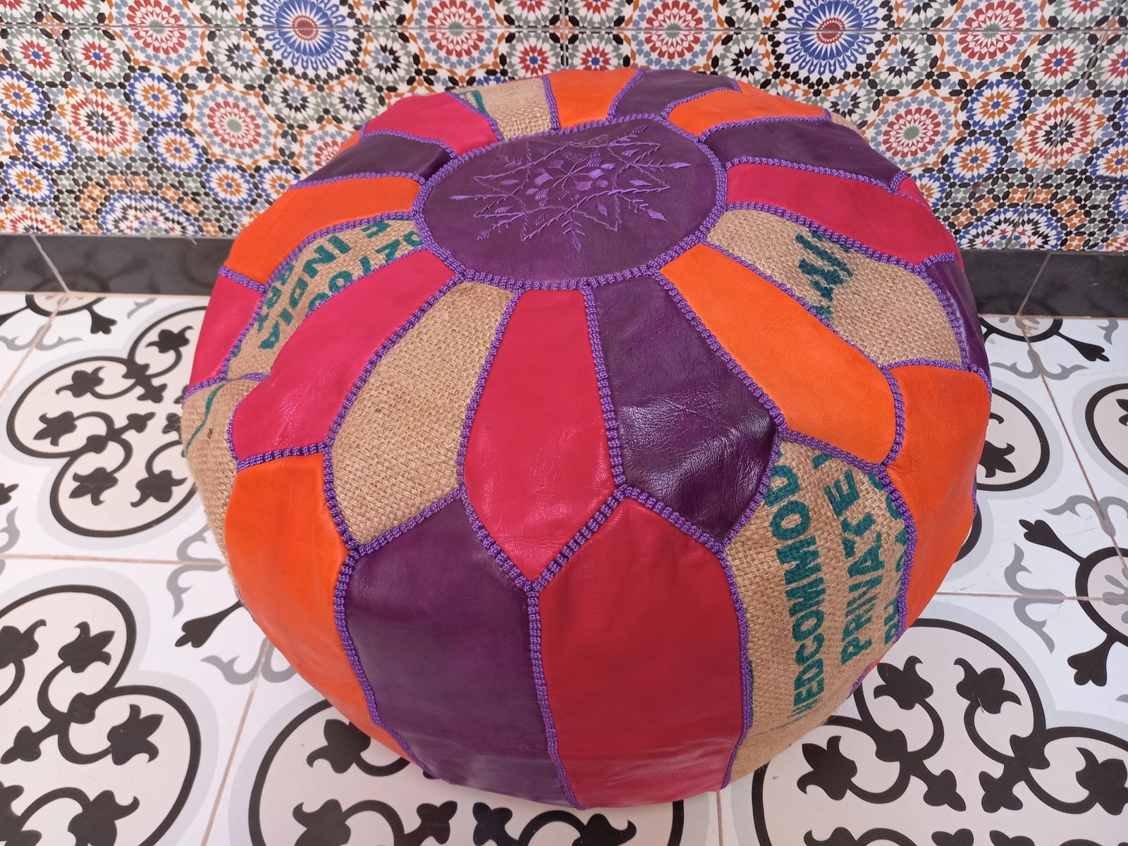 Pouf leather and Sabra silk Red, Purple Morocco