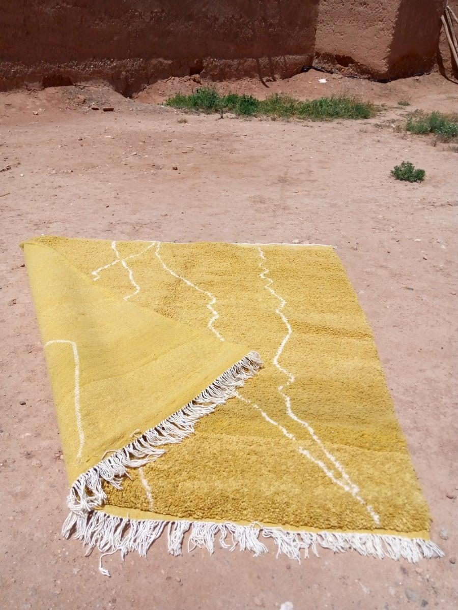 Rug   Yellow, White Morocco