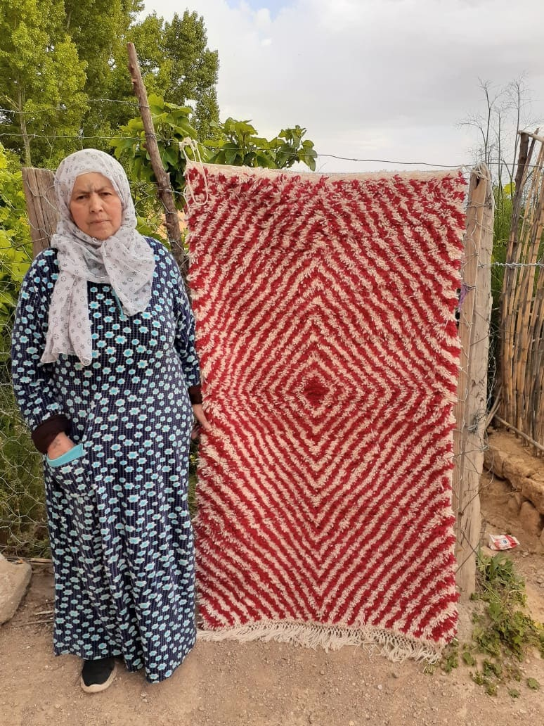 Pile Knot  Red, White Morocco