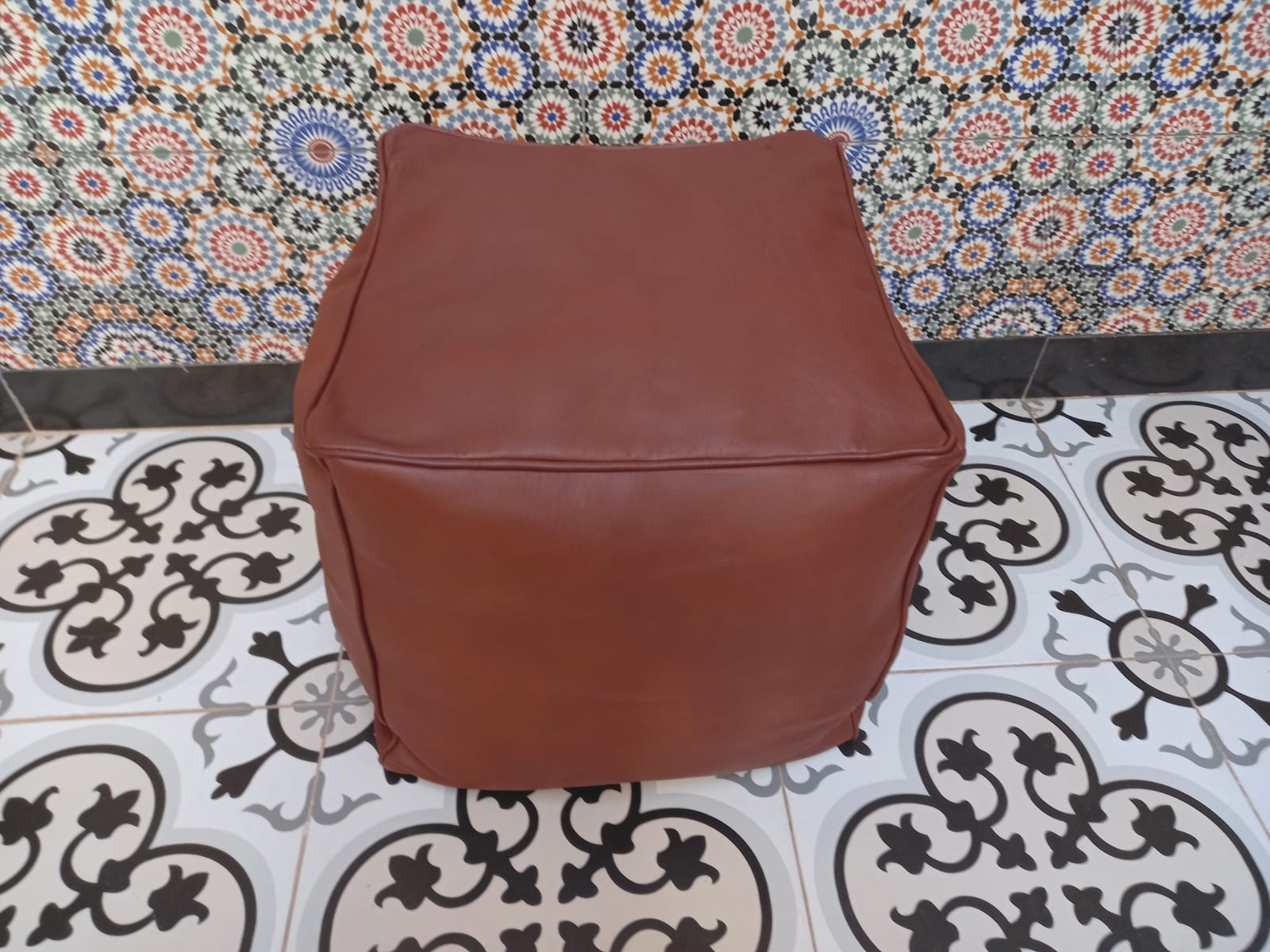 Pouf leather Orange Morocco