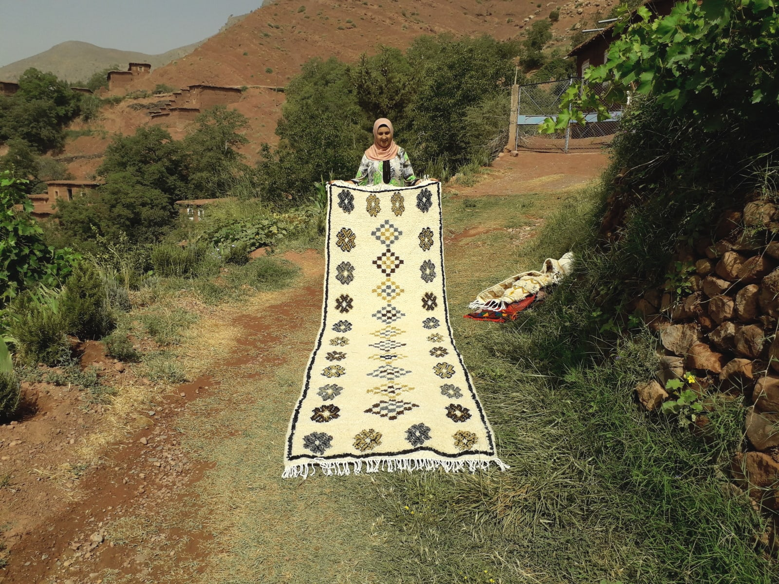 Pile Knot Rug Wool Colored Morocco
