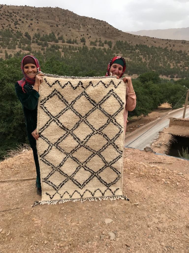 Pile Knot  Black, White Morocco