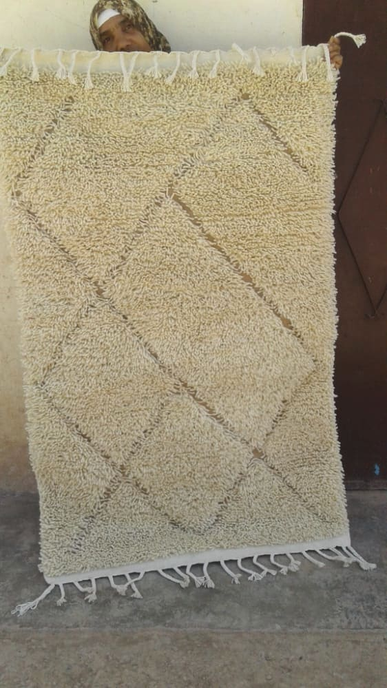 Beni Ourain rug wool  and  Brown, White Morocco