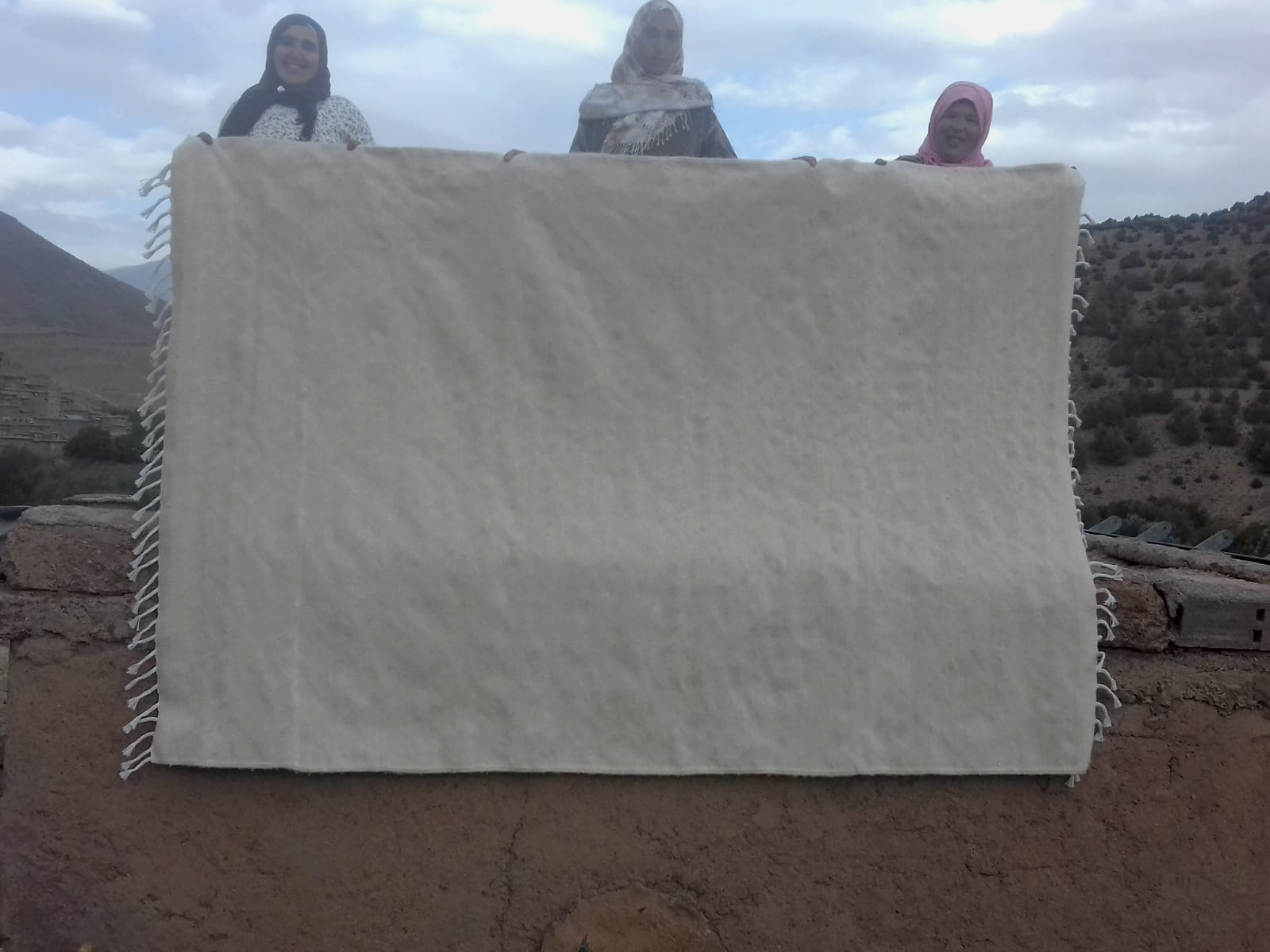 Beni Ourain Wool String and Wool White Morocco